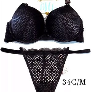 Victoria's Secret Bombshell Push Up Bra Set 34C/M